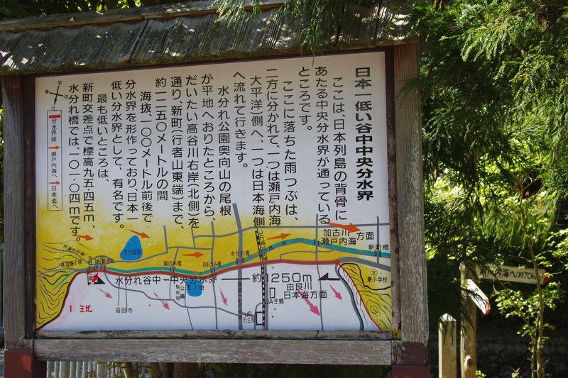 日本一低い中央分水界の説明看板