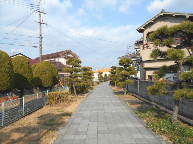 別府鉄道廃線跡を歩く:廃線跡らしいカーブ