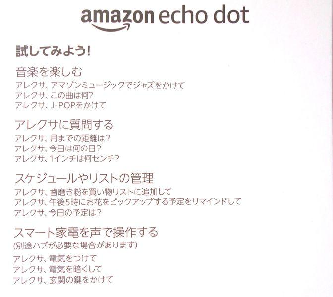 echo dot のマニュアル できることのほんのわずかだと思う