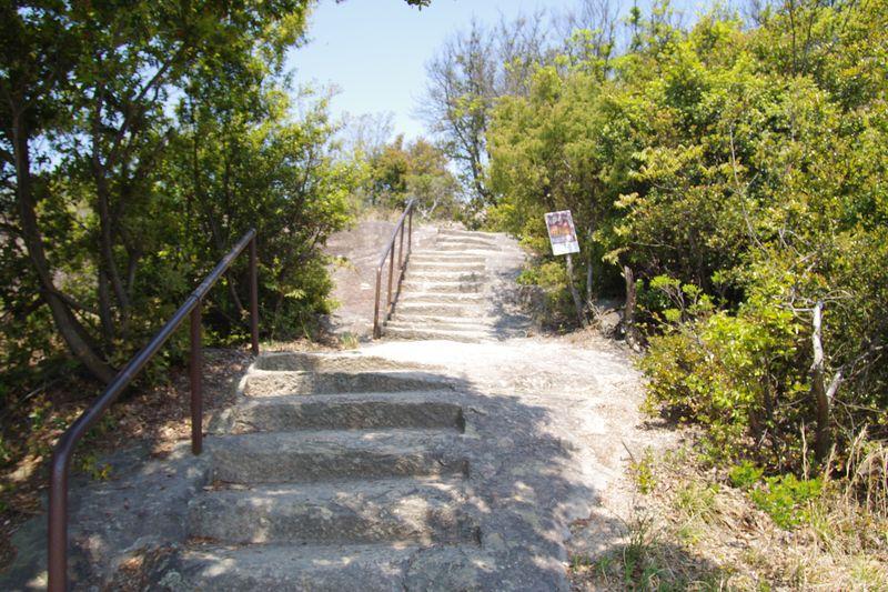 神社の横から石の山を削った階段で頂上へ。
