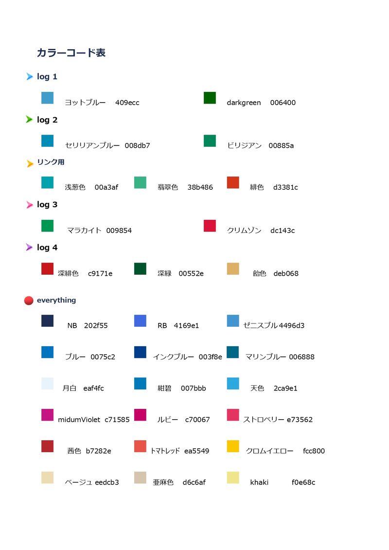 私のカラーコード表