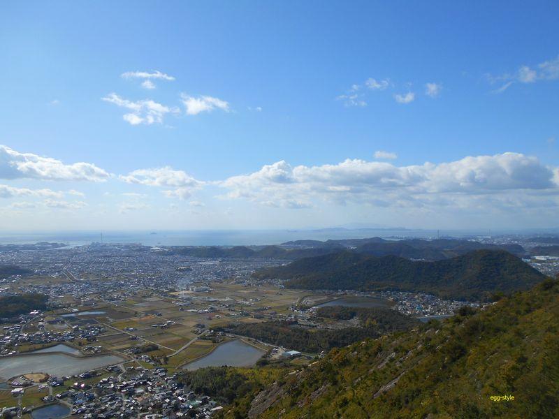 日笠山、家島諸島、小豆島を望む