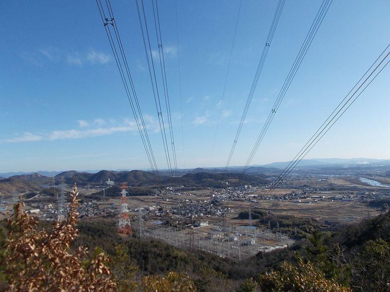加古川右岸の景色と新加古川変電所