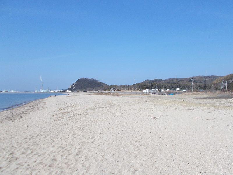 礒山南の砂浜から海浜公園を見る 大きな砂浜が続く