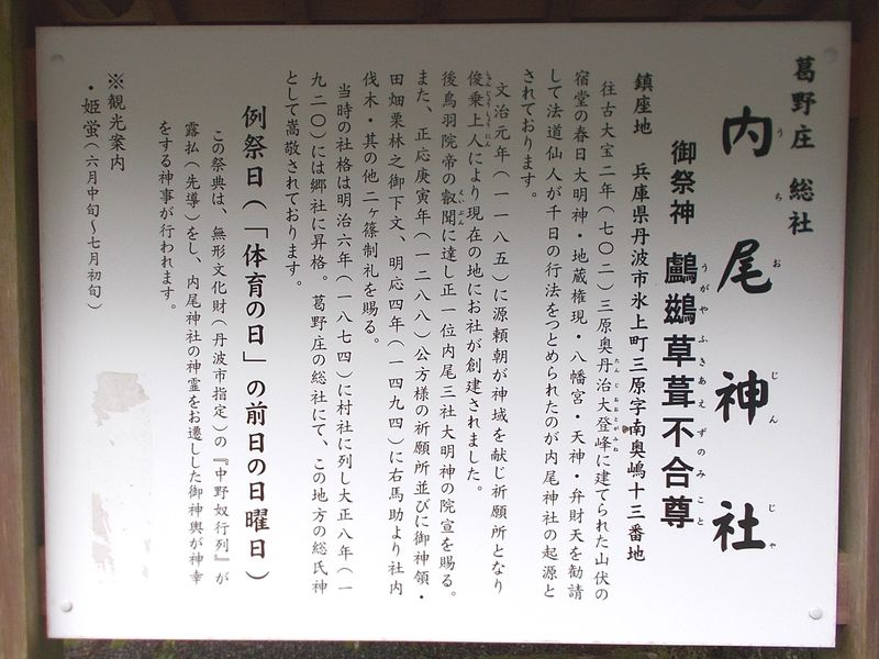 内尾神社の説明看板