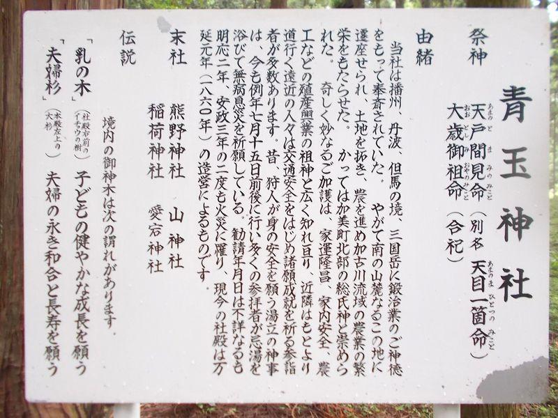 青玉神社の説明看板