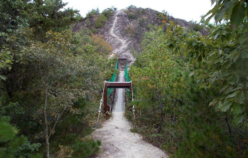 小さいながらも吊り橋で、善防山と笠松山を結ぶルート
